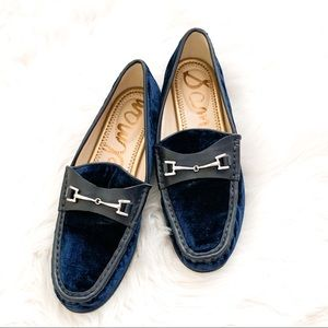 Sam Edelman Navy Blue Velvet Talia Loafers